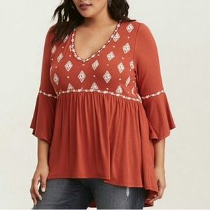 Torrid burnt orange, bell sleeve baby doll tunic